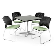 """OFM 36"""" Square Flip-Top Gray Nebula Table With 4 Chairs, Sage Green"""