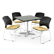 OFM 42 Square Flip-Top Gray Nebula Table With 4 Chairs, Golden Flax