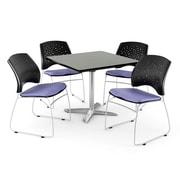 OFM 36 Square Flip-Top Gray Nebula Table With 4 Chairs, Lavender
