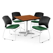 """OFM 36"""" Square Flip-Top Cherry Table With 4 Chairs, Forest Green"""