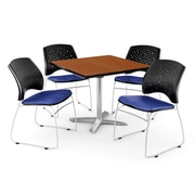 "OFM 42"" Square Flip-Top Cherry Table With 4 Chairs, Royal Blue"