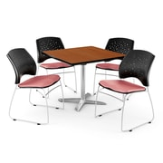 "OFM 42"" Square Flip-Top Cherry Table With 4 Chairs, Coral Pink"