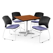 OFM 42 Square Flip-Top Cherry Table With 4 Chairs, Lavender