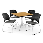 "OFM 42"" Square Multi-Purpose Oak Table With 4 Chairs, Gray"
