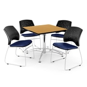 OFM 42 Square Multi-Purpose Oak Table With 4 Chairs, Navy