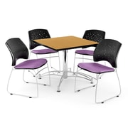 "OFM 42"" Square Multi-Purpose Oak Table With 4 Chairs, Plum"
