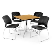 "OFM 42"" Square Multi-Purpose Oak Table With 4 Chairs, Black"