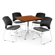 OFM 42 Square Multi-Purpose Cherry Table With 4 Chairs, Gray