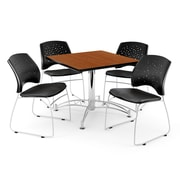 "OFM 42"" Square Multi-Purpose Cherry Table With 4 Chairs, Black"