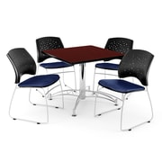 "OFM 42"" Square Multi-Purpose Mahogany Table With 4 Chairs, Navy"