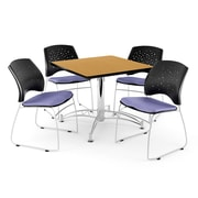 "OFM 42"" Square Multi-Purpose Oak Table With 4 Chairs, Lavender"