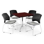 OFM 36 Square Multi-Purpose Mahogany Table With 4 Chairs, Putty