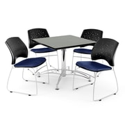 OFM 42 Square Multi-Purpose Gray Nebula Table With 4 Chairs, Navy