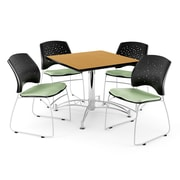 "OFM 42"" Square Multi-Purpose Oak Table With 4 Chairs, Sage Green"