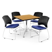 "OFM 42"" Square Multi-Purpose Oak Table With 4 Chairs, Royal Blue"