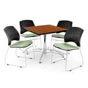 "OFM 42"" Square Multi-Purpose Cherry Table With 4 Chairs, Sage Green"
