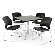 """OFM 42"""" Square Multi-Purpose Gray Nebula Table With 4 Chairs, Black"""