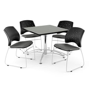 OFM 42 Square Multi-Purpose Gray Nebula Table With 4 Chairs, Gray