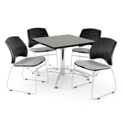 OFM 42 Square Multi-Purpose Gray Nebula Table With 4 Chairs, Putty