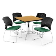 "OFM 42"" Square Multi-Purpose Oak Table With 4 Chairs, Shamrock Green"