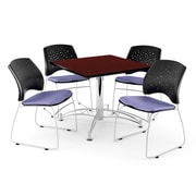 "OFM 42"" Square Multi-Purpose Mahogany Table With 4 Chairs, Lavender"