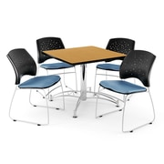 "OFM 42"" Square Multi-Purpose Oak Table With 4 Chairs, Cornflower Blue"