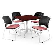 OFM 42 Square Multi-Purpose Mahogany Table With 4 Chairs, Coral Pink