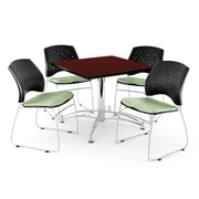 "OFM 42"" Square Multi-Purpose Mahogany Table With 4 Chairs, Sage Green"
