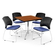 "OFM 42"" Square Multi-Purpose Cherry Table With 4 Chairs, Colonial Blue"