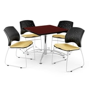 "OFM 42"" Square Multi-Purpose Mahogany Table With 4 Chairs, Golden Flax"