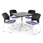 OFM 42 Square Multi-Purpose Gray Nebula Table With 4 Chairs, Lavender