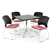 OFM 42 Square Multi-Purpose Gray Nebula Table With 4 Chairs, Coral Pink