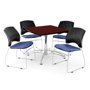 """OFM 42"""" Square Multi-Purpose Mahogany Table With 4 Chairs, Colonial Blue"""