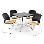 OFM 42 Square Multi-Purpose Gray Nebula Table With 4 Chairs, Golden Flax