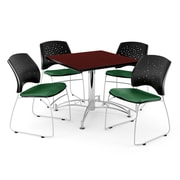 "OFM 42"" Square Multi-Purpose Mahogany Table With 4 Chairs, Forest Green"