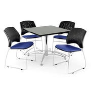 """OFM 42"""" Square Multi-Purpose Gray Nebula Table With 4 Chairs, Royal Blue"""