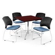 OFM 42 Square Multi-Purpose Mahogany Table With 4 Chairs, Cornflower Blue