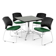 "OFM 42"" Square Multi-Purpose Gray Nebula Table With 4 Chairs, Forest Green"