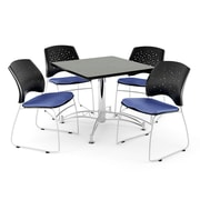 "OFM 42"" Square Multi-Purpose Gray Nebula Table With 4 Chairs, Colonial Blue"
