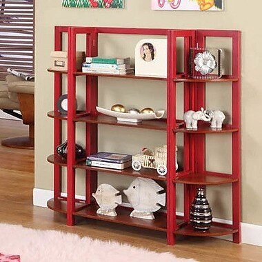 InRoom Designs 42'' Bookcase; Red / Walnut