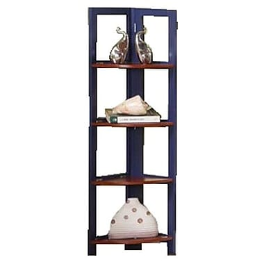 InRoom Designs 42'' Corner Bookcase; Dark Blue/Walnut