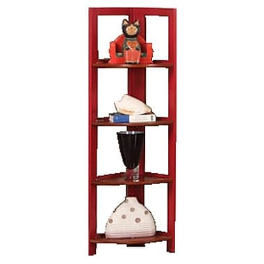 InRoom Designs 42'' Corner Bookcase; Red / Walnut