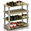 Furinno Turn-S-Tube 4-Tier Shoe Rack; Steam / White