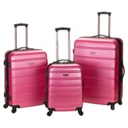 Rockland Melbourne 3 Piece ABS Luggage Set; Pink