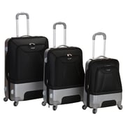 Rockland Rome 3 Piece Hybrid EVA/ABS Spinner Luggage Set; Black