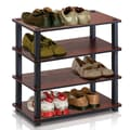 Furinno Turn-S-Tube 4-Tier Shoe Rack; Dark Cherry