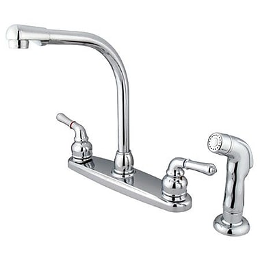 Elements of Design Magellan Double Handle Centerset Kitchen Faucet; Chrome