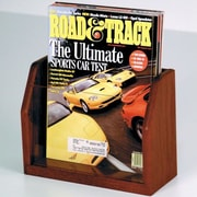 Wooden Mallet Countertop Single Pocket Magazine Display; Dark Red Mahogany