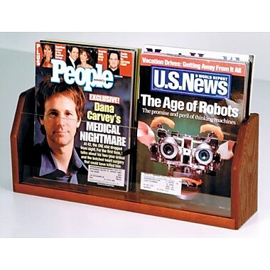 Wooden Mallet Countertop Two Pocket Magazine Display; Dark Red Mahogany