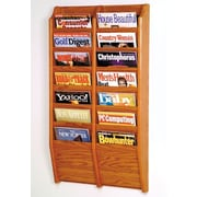 Wooden Mallet 14 Pocket Wall Mount Magazine Rack; Medium Oak